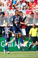 23-08-2015 VOETBAL:AZ-WILLEM II:ALKMAAR <br /> Eredivisie 2015-2016 <br /> <br /> Funso Ojo van Willem II in duel met Markus Henriksen van AZ <br /> <br /> Foto: Geert van Erven