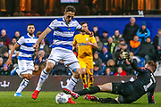 PENALTY Preston North End goalkeeper Declan Rudd (1) brings down Queens Park Rangers midfielder Marc Pugh (7) during the EFL Sky Bet Championship match between Queens Park Rangers and Preston North End at the Kiyan Prince Foundation Stadium, London, England on 7 December 2019.