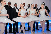 MEMBERS OF FLAWLESS WITH DANCERS FROM THE ENGLISH NATIONAL BALLET. ;  English National Ballet's party before performance of the ' The Nutcracker. St. Martin's Lane Hotel. London 14 December 2011.