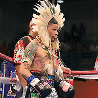 "Orlando ""El Fenomeno""  Cruz is seen in the ring with his outfit on prior to his match against  Gabino ""Flash"" Cota during the Boxeo Telemundo WBO/NABO Super Featherweight bout on Friday, October 9, 2015 at the Kissimmee Civic Center in Kissimmee, Florida. Cruz, who is from Puerto Rico, is the first ever openly gay boxer  in the history of the sport and won the bout by unanimous decision.  (Alex Menendez via AP)"