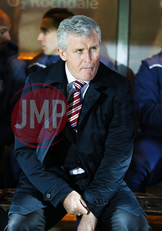 Stoke City Manager Mark Hughes   - Photo mandatory by-line: Matt McNulty/JMP - Mobile: 07966 386802 - 26/01/2015 - SPORT - Football - Rochdale - Spotland Stadium - Rochdale v Stoke City - FA Cup Fourth Round