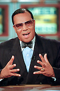 Leader of the Nation of Islam, Minister Louis Farrakhan discusses his views of the Clinton presidential scandal during NBC's Meet the Press October 18, 1998 in Washington, DC.