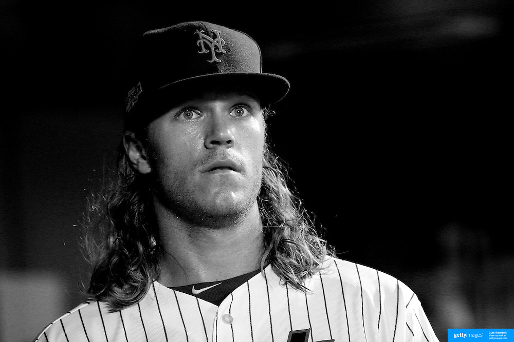 NEW YORK, NEW YORK - October 5: Pitcher Noah Syndergaard #34 of the New York Mets in the dugout after pitching during the San Francisco Giants Vs New York Mets National League Wild Card game at Citi Field on October 5, 2016 in New York City. (Photo by Tim Clayton/Corbis via Getty Images)