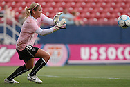 The United States' Hope Solo during pregame warmups on Saturday, May 12th, 2007 at Pizza Hut Park in Frisco, Texas. The United States Women's National Team defeated Canada 6-2 in a women's international friendly.