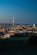Auckland city at dusk, taken from Mt Eden. New Zealand