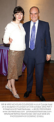 MR & MRS NICHOLAS COLERIDGE m/d of Conde Nast at a reception in London on 31st october 2002.PER 7