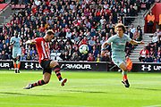 Danny Ings (9) of Southampton shoots at goal and misses the target during the Premier League match between Southampton and Chelsea at the St Mary's Stadium, Southampton, England on 7 October 2018.