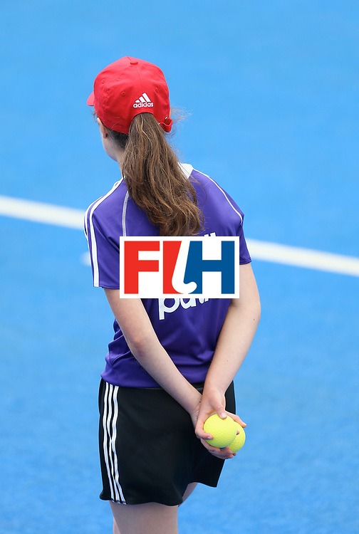 LONDON, ENGLAND - JUNE 24: A member of the ball patrol team looks on during the 5th-8th place match between Pakistan and India on day eight of the Hero Hockey World League Semi-Final at Lee Valley Hockey and Tennis Centre on June 24, 2017 in London, England. (Photo by Steve Bardens/Getty Images)