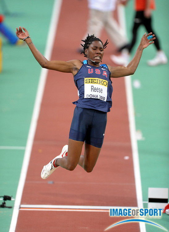 Mar 14, 2010; Doha, QATAR; Brittney Reese (USA) won the women's long jump at 21-11 3/4 (6.70m) in the IAAF World Indoor Championships at the Aspire Dome.