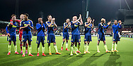 ALMELO, Heracles Almelo - Ajax, voetbal Eredivisie seizoen 2014-2015, 11-04-2015, Polman Stadion, Ajax spelers vieren de overwinning en bedanken de meegereisde supporters.