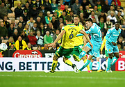 Burton Albion's Joe Mason shoots at goal during the EFL Sky Bet Championship match between Norwich City and Burton Albion at Carrow Road, Norwich, England on 12 September 2017. Photo by John Potts.