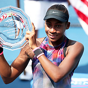2017 U.S. Open Tennis Tournament - DAY FOURTEEN. Cori Gauff of the United States with her runners up trophy in the Junior Girls' Singles Final at the US Open Tennis Tournament at the USTA Billie Jean King National Tennis Center on September 10, 2017 in Flushing, Queens, New York City.  (Photo by Tim Clayton/Corbis via Getty Images)