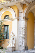 Rome, the coservative studio Merlini Storti, marble statue portraying a Madonna with Child