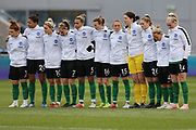 Brighton Womens team line up for a minutes silence for the Sala and other passengers in Mondays plane crash  during the FA Women's Super League match between Manchester City Women and Brighton and Hove Albion Women at the Sport City Academy Stadium, Manchester, United Kingdom on 27 January 2019.