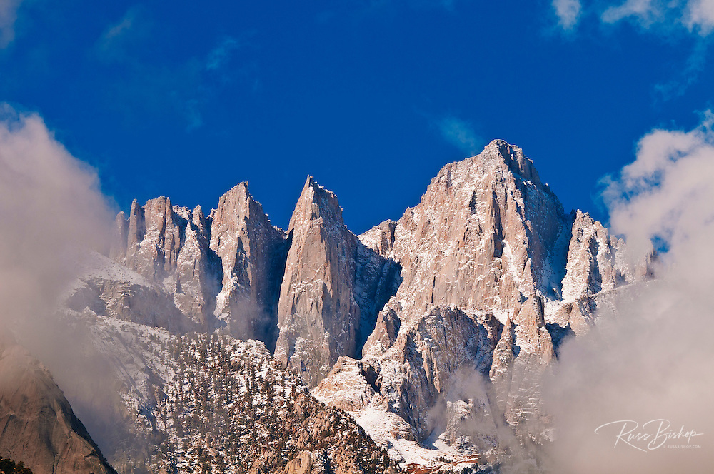 Morning light on the east face of Mount Whitney, Sequoia National Park, California USA