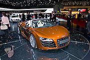 02.MARCH.2010. GENEVA<br /> <br /> AUDI R8 AT THE 80TH GENEVA INTERNATIONAL MOTOR SHOW IN GENEVA, SWITZERLAND.<br /> <br /> BYLINE: EDBIMAGEARCHIVE.COM<br /> <br /> *THIS IMAGE IS STRICTLY FOR UK NEWSPAPERS AND MAGAZINES ONLY*<br /> *FOR WORLD WIDE SALES AND WEB USE PLEASE CONTACT EDBIMAGEARCHIVE - 0208 954 5968*