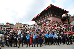 September 15, 2016 - Kathmandu, NE, Nepal - Thousands of Nepalese devotees observing the festival on the third day of Indra Jatra Festival celebrated at Basantapur Durbar Square, Kathmandu, Nepal on Thursday, September 15, 2016. Devotees celebrated the god of rain 'Indra' for 8 days in Kathmandu. (Credit Image: © Narayan Maharjan/NurPhoto via ZUMA Press)