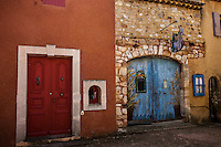 Colorful walls and doors with contrasting textures and materials, France. Fine art photography prints. Exotic places wall art.