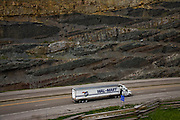 A Walmart truck on highway in coal mining country, Kentucky.