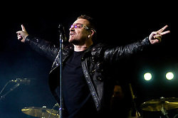 Bono U2 front man performs with the band during their 2009  360 tour at Sheffield  Don Valley Stadium 20 August