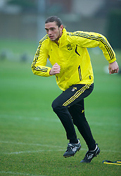 LIVERPOOL, ENGLAND, Wednesday, March 16, 2011: Liverpool's Andy Carroll during a training session at the club's Melwood Training Ground ahead of the UEFA Europa League Round of 16 2nd leg match against Sporting Clube de Braga. (Photo by David Rawcliffe/Propaganda)