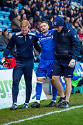 Gillingham FC midfielder Mark Byrne (18) retires injured during the EFL Sky Bet League 1 match between Gillingham and Sunderland at the MEMS Priestfield Stadium, Gillingham, England on 7 December 2019.