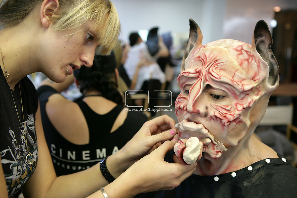 23rd October 2008, Los Angeles, California. Extreme Makeover!  Students at the Cinema Makeup School in Hollywood California, graduate from a special effects make-up course.  In this part of the course, movie industry hopefuls learn to design and create latex masks over a period of four weeks, before demonstrating their competence by transforming models into drag queens, aliens and monsters in only eight hours. Pictured is: Mariko Katalo (21). PHOTO © JOHN CHAPPLE / REBEL IMAGES.john@chapple.biz    www.chapple.biz.(001) 310 570 9100.