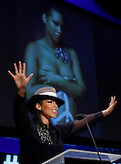Singer, songwriter and humanitarian, Alicia Keys, speaks at the fifth annual Social Good Summit: Connecting for Good, Connecting for All, a convening of world leaders, new media and technology experts, grassroots activists, and voices from around the world to challenge a growing worldwide community to explore how technology and new media can be leveraged to benefit people everywhere, to create a better world by the year 2030, on Sun., Sept. 21, 2014 in New York. (Photo by Stuart Ramson/Invision for United Nations Foundation/AP Images)