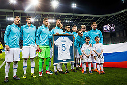Slovenian team with Bostjan Cesarduring friendly football match between National teams of Slovenia and Belarus, on March 27, 2018 in SRC Stozice, Ljubljana, Slovenia. Photo by Vid Ponikvar / Sportida