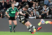 Hull FC scrum half Marc Sneyd (7) takes a conversion kick during the Betfred Super League match between Hull FC and Leeds Rhinos at Kingston Communications Stadium, Hull, United Kingdom on 19 April 2018. Picture by Mick Atkins.