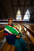 Thembeni Sibeko, 63, pictured in the Regina Mundi Catholic Church in Soweto, Johannesburg, South Africa. Regina Mundi is the largest Catholic church in South Africa and was a gathering place for the people of Soweto in the years before, during, and after the anti-apartheid struggle.