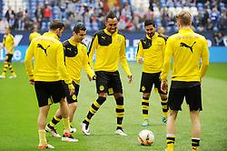 10.04.2016, Veltins Arena, Gelsenkirchen, GER, 1. FBL, Schalke 04 vs Borussia Dortmund, 29. Runde, im Bild V.l.n.r. Gonzalo Castro, Henrikh Mkhitaryan, Pierre-Emerick Aubameyang, Ilkay Guendogan und Lukasz Piszczek ( alle Borussia Dortmund ) zu Beginn des Revierderbys nur Reservisten. // during the German Bundesliga 29th round match between Schalke 04 and Borussia Dortmund at the Veltins Arena in Gelsenkirchen, Germany on 2016/04/10. EXPA Pictures © 2016, PhotoCredit: EXPA/ Eibner-Pressefoto/ Thienel<br /> <br /> *****ATTENTION - OUT of GER*****
