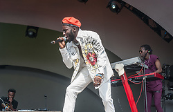 Kojey Radical performs on stage on day 2 of All Points East festival in Victoria Park in London, UK. Picture date: Saturday 26 May 2018. Photo credit: Katja Ogrin/ EMPICS Entertainment.