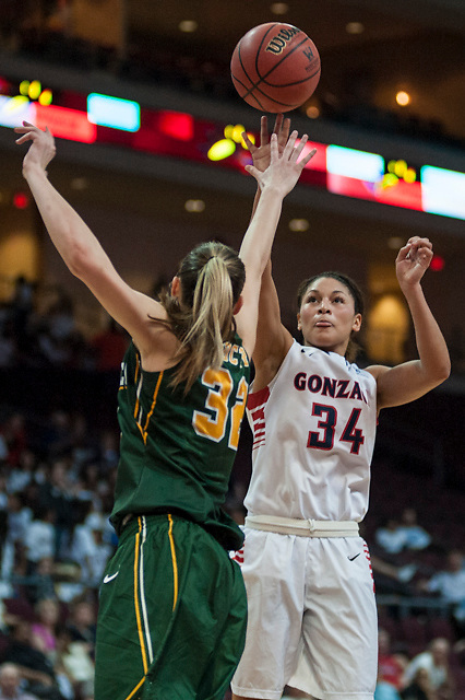 Gonzaga's Jazmine Redmon shoots a two-pointer during the second half of the WCC Quarterfinal game.  Austin Ilg photo for the Gonzaga Bulletin.