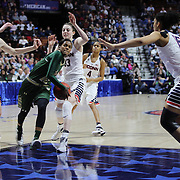 Courtney Williams, USF, drives to the basket defended by Breanna Stewart, (left), Katie Lou Samuelson and Gabby Williams, (right), UConn,  during the UConn Huskies Vs USF Bulls 2016 American Athletic Conference Championships Final. Mohegan Sun Arena, Uncasville, Connecticut, USA. 7th March 2016. Photo Tim Clayton