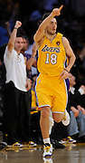 Sasha Vujacic is jubulant after making a hoop in the first half. The Lakers defeated the Boston Celtics in game 6 of the NBA Finals 89-67. Los Angeles, CA 06/15/2010 (John McCoy/Staff Photographer).