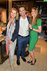 Left to right, SIMONA GEISTORAITYTE and ANTHONY & EMMA GAMBLE at a party to celebrate the launch of the new Watches of Switzerland Knightsbridge store 47-51 Brompton Road, London on 7th July 2016.