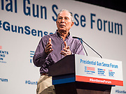 10 AUGUST 2019 - DES MOINES, IOWA: Former New York Mayor MICHAEL BLOOMBERG, founder of Every Town for Gun Safety, speaks at the Presidential Gun Sense Forum. Several thousand people from as far away as Milwaukee, WI, and Chicago, came to Des Moines Saturday for the Presidential Gun Sense Forum. Most of the Democratic candidates for president attended the event, which was organized by Moms Demand Action, Every Town for Gun Safety, and Students Demand Action.          PHOTO BY JACK KURTZ