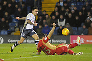 Bury Forward, Dom Telford (18) scores  to make it 2-3 goal during the EFL Sky Bet League 2 match between Bury and Milton Keynes Dons at the JD Stadium, Bury, England on 12 January 2019.