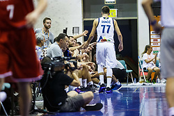 Luka Doncic of Slovenia with players of Slovenia during friendly basketball match between National teams of Slovenia and Hungary on day 1 of Adecco Cup 2017, on August 4th in Arena Tabor, Maribor, Slovenia. Photo by Grega Valancic/ Sportida