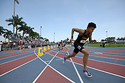 Jun 23, 2019; Miramar, FL, USA; General overall view of Reece Shaul at the start of the 800m during the USATF U20 Championships at Ansin Sports Complex.