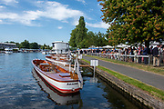 Henley on Thames, England, United Kingdom, 5th July 2019, Henley Royal Regatta, Umpires launches moored outside the Bridge Bar,   [© Peter SPURRIER/Intersport Image]<br /> <br /> 17:03:22 1919 - 2019, Royal Henley Peace Regatta Centenary,