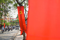 Hammer and Sickle on Banners Along Road