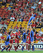 "The line out throw beats a leaping Nathan Sharp during the Super15 Rugby Union match (Round 2) between the Queensland Reds and Western Force played at Suncorp Stadium (Brisbane, Australia) on Saturday 3rd March 2012 ~ Queensland (35) defeated the Western Force (20) ~ This image is intended for Editorial use only - Required Images Credit ""Steven Hight - Aura Images"""