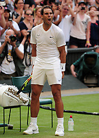 Tennis - 2019 Wimbledon Championships - Week One, Thursday (Day four)<br /> <br /> Men's singles, 2nd Round Nick Kyrios (AUS) v Rafael Nadal (ESP)<br /> <br /> Rafael Nadal celebrates winning the match on Centre Court <br /> <br /> COLORSPORT/ANDREW COWIE