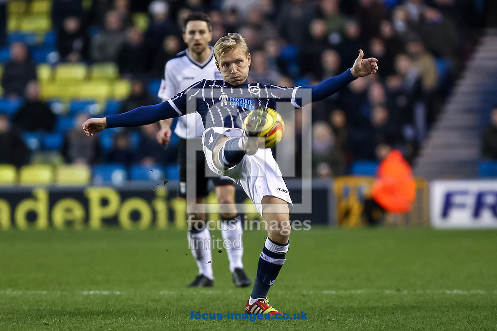 Picture by Daniel Chesterton/Focus Images Ltd +44 7966 018899<br /> 18/01/2014<br /> Josh Wright of Millwall clears the ball during the Sky Bet Championship match at The Den, London.