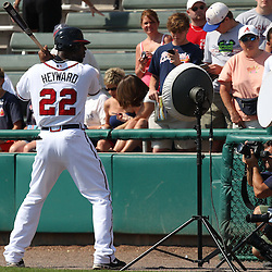 March 16, 2011; Lake Buena Vista, FL, USA; Atlanta Braves right fielder Jason Heyward (22) poses for a portrait before a spring training exhibition game against the Boston Red Sox at the Disney Wide World of Sports complex.  Mandatory Credit: Derick E. Hingle