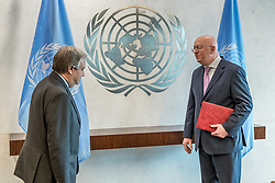 July 28, 2017 - New York, NY, United States - The newly-appointed Permanent Representative to the United Nation Ambassador Vassily Nebenzia presented his credentials to UN Secretary-General Antonio Guterres at a brief ceremony in UN Headquarters' Executive Suite. Ambassador Nebenzia assumes the post previously held by Vitaly Churkin who died. (Credit Image: © Albin Lohr-Jones/Pacific Press via ZUMA Wire)