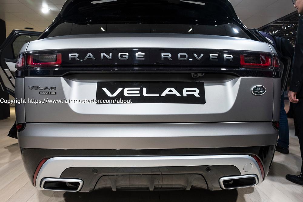 Rear view of new Land Rover Velar at 87th Geneva International Motor Show in Geneva Switzerland 2017
