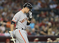 PHOENIX, AZ - JUNE 07:  Buster Posey #28 of the San Francisco Giants at bat against the Arizona Diamondbacks in the first inning at Chase Field on June 7, 2013 in Phoenix, Arizona.  The Diamondbacks defeated the Giants 3-1.  (Photo by Jennifer Stewart/Getty Images) *** Local Caption *** Buster Posey